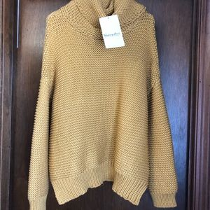 Oversized cowl neck mustard sweater